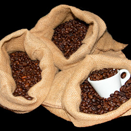 Dark Roasted Coffee Beans inside a Cloth Sack Italian Roasted Bl by James Morris - Food & Drink Alcohol & Drinks ( sack, black background, coffee, beans, dark, roasted, italian, cloth )