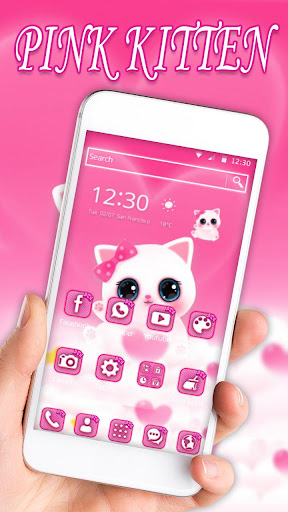 Cute Pink Kitty Theme for PC