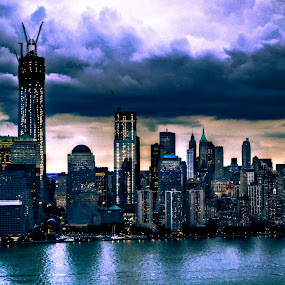 Channel city by Habeeb Alagangan - Buildings & Architecture Public & Historical ( clouds, water, building, new york, nyc, landscape, city )