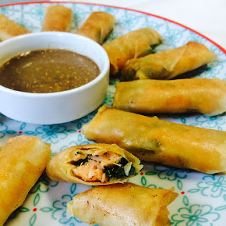 Red Curry Salmon Spring Rolls with Ginger Dipping Sauce