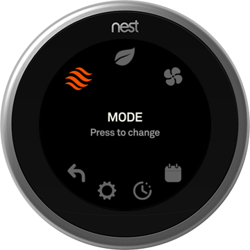 Nest thermostat with Heat Mode selected