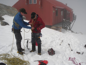 Photo: Sean getting Bill set up for a 'reccy' up the Linda Glacier.