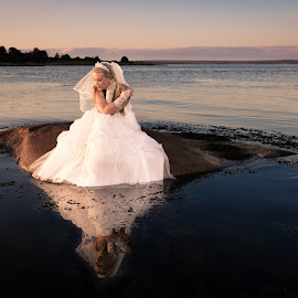 When she felt she was alone by Morten Obbink - Wedding Bride ( hvaler, flash, reflection, model, waterscape, fredrikstad foto, white dress, bride, norway )