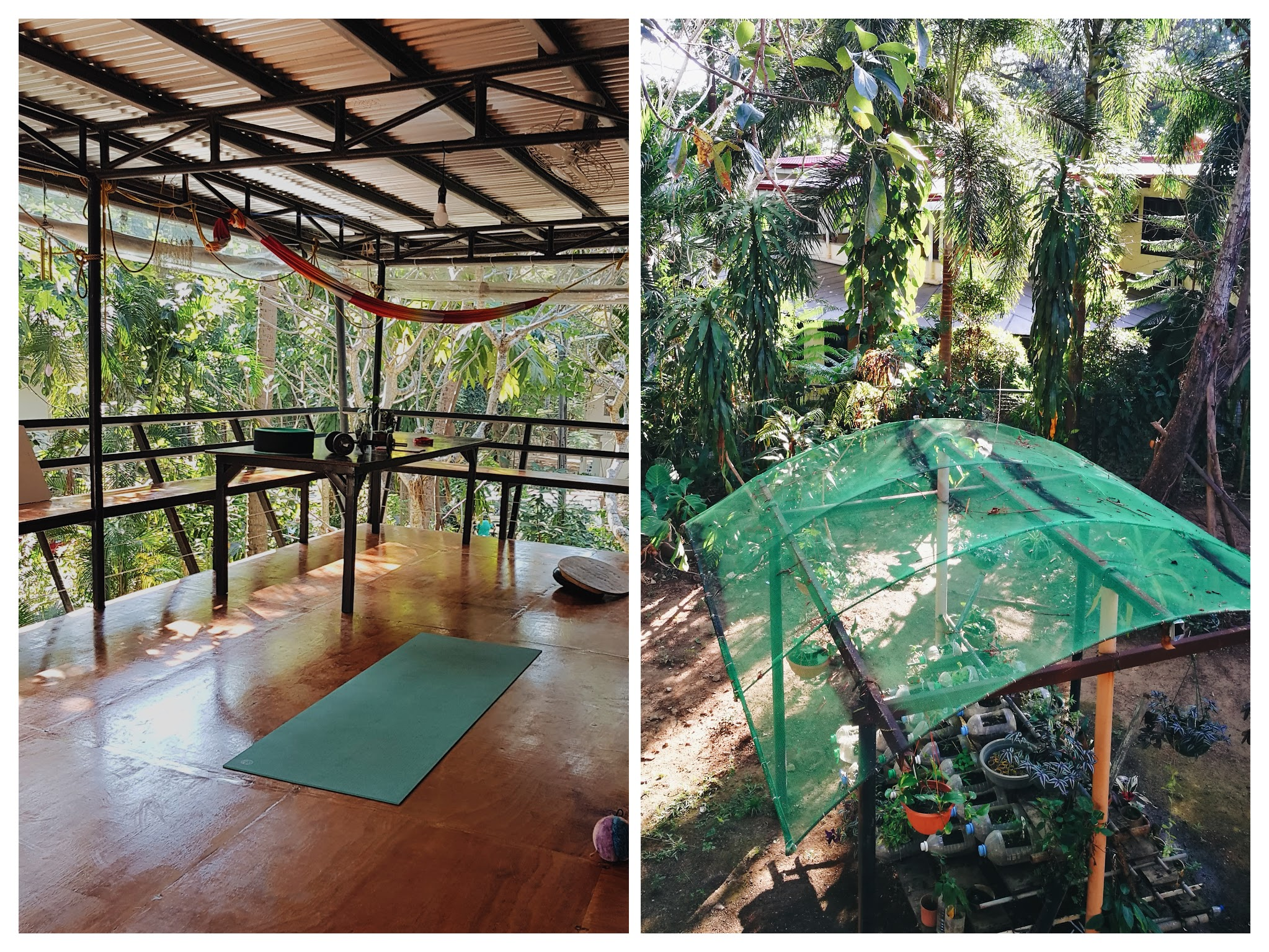 Airbnb Review: Subic Rainforest Retreat - on left: a spacious balcony good for yoga sessions. on right: small garden and compost | www.wearejuanderers.com