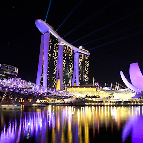Marina Bay Night Scape by Kai Jian - Landscapes Starscapes ( laser light, helix bridge, pwcreflections, marina bay sands, long exposure, art science museum, sands skypark, singapore, nightscape )
