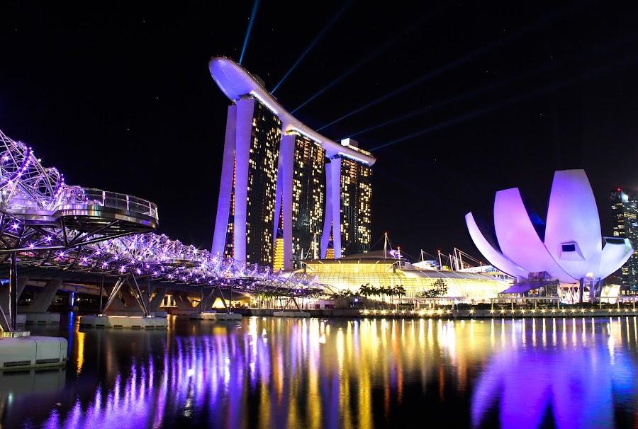 Marina Bay Night Scape by Kai Jian - Landscapes Starscapes ( laser light, helix bridge, pwcreflections, marina bay sands, long exposure, art science museum, sands skypark, singapore, nightscape )