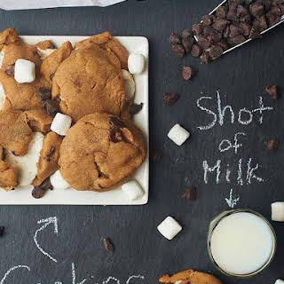 Marshmallow Stuffed PB Chocolate Chip Cookies.
