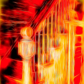 In The Heat Of The Fire. by Dave Walters - Digital Art Abstract ( abstract, stairway, digital fire, colors, digital art,  )