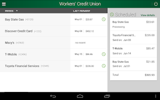 Screenshot of Workers' CU Mobile Banking