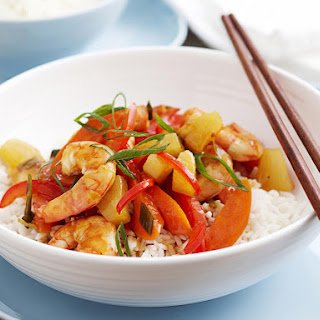 Sweet and Sour Shrimp with Vegetables.