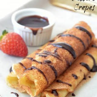 Dessert Crepes with Chocolate Sauce.