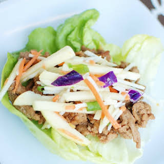 Thai Lettuce Wraps with Cabbage Apple Slaw.