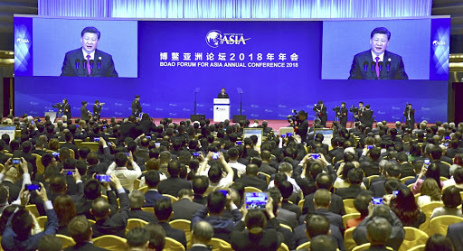 Chinese President Xi Jinping delivers a speech at an annual meeting of the Boao Forum for Asia, in Boao, in the southern Chinese province of Hainan, on April 10 2018. Picture: KYODO VIA REUTERS