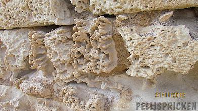 Photo: Gamla stenblock av kalksten som bildar väggen i Eremitgrottan