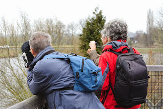 Photo: Grijze ornithologen gaan op in de grijze luchten ... ☺