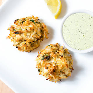 Broiled Maryland Crabcakes with Creamy Herb Sauce.