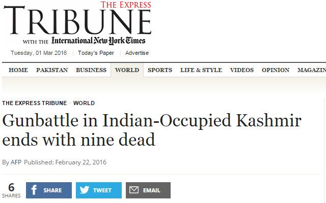 Indian Kashmir to Indian Occupied Kashmir