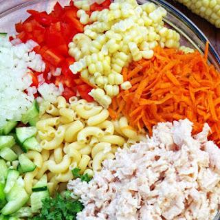 Cold Chicken Pasta Salad Recipe with a Rainbow of Veggies.