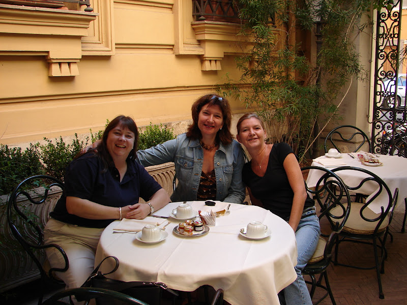 Photo: Carrie, Anne and I at Cafe Locarno in Rome. 2006