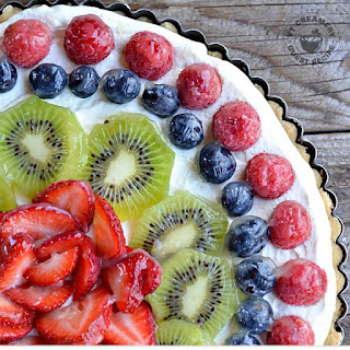 Fresh Fruit Tart with Crème Fraîche Whipped Cream