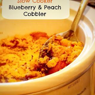 Slow Cooker Cake Mix Blueberry & Peach Cobbler.