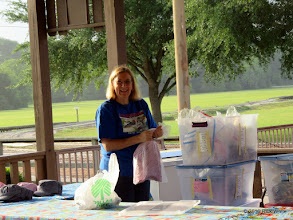 Photo: Marge Leventon is setting up the concession supplies.    HALS Public Run Day 2016-0416 at 8:10 AM