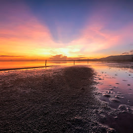 Colours by Geoffrey Wols - Landscapes Sunsets & Sunrises ( sand, sunrise, siquijor island, reflections, beach, sunset, colourful, philippines, water, low tide,  )