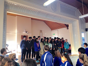"Photo: Day 12: Morning Assembly - Our students singing ""Edelweiss"""