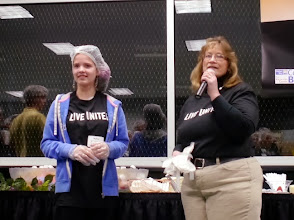 Photo: Kylee getting ready to speak at the United Way & Kids Care - Outreach Inc's food packing on April 23rd 2013.