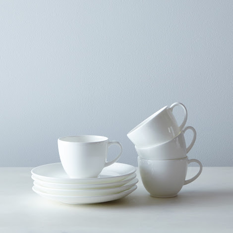 Purio White Espresso Cup & Saucer (Set of 4)