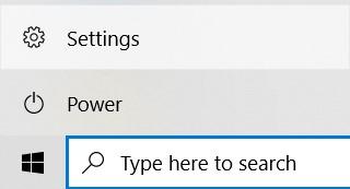 The Settings menu in the Start menu