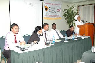 Photo: Human Rights session head-table:  Gino Persaud, Melinda Janki, Tim Jones, Teni Houty, Justice Roxanne George