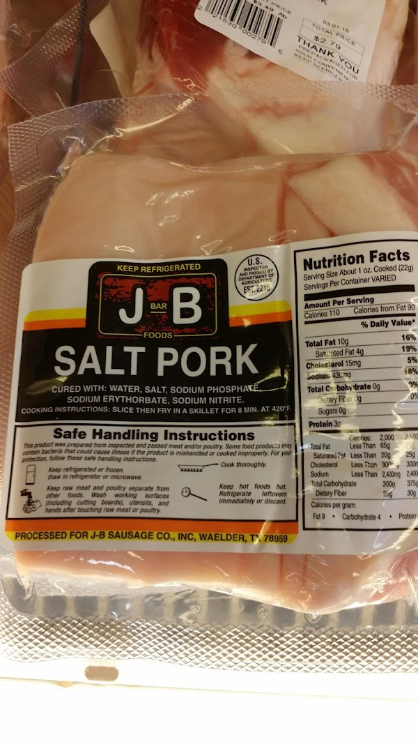 a picture so you know what salt pork looks like and what to look for in the grocery store. it's similar to bacon.
