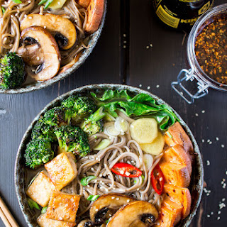 Ramen With Grilled Vegetables And Tofu.