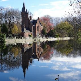 Brugge by Luis Felipe Moreno Vázquez - City,  Street & Park  Vistas ( gent, reflections, buildings, travel, water, belgium, lake )