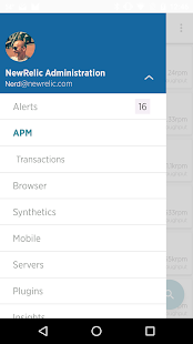 New Relic Android app - náhled