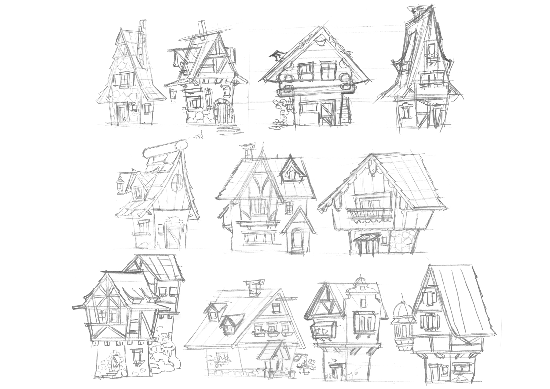 Early sketches for traditional German houses.