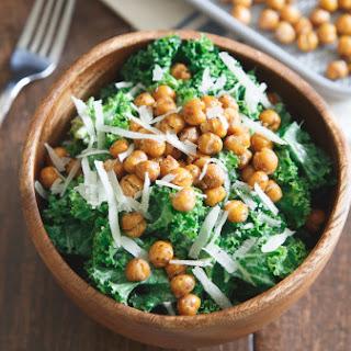 Salt- and vinegar-roasted chickpea kale Caesar salad