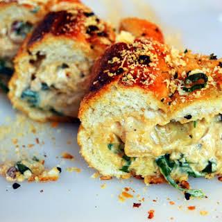 Spinach & Artichoke Stuffed Garlic Bread | Easy Appetizers.