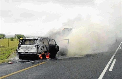 UP IN SMOKE: A Kuga on January 6 2017 on the R63 between King William's Town and Dimbaza. File Photo