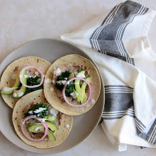 Kale Tacos + Pickled Red Onions.
