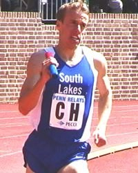 Alan Webb during his 1:49.1 split on the 2001 4x800 at Penn.  Photo John Dye.