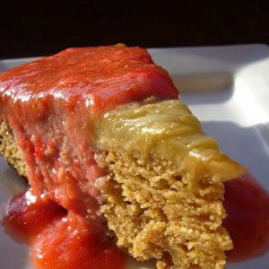 Rhubarb Upside-down Cake with Strawberry Coulis