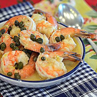 Lemon Butter Caper Shrimp.