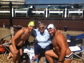 Photo: Josh, Freda Streeter and myself two days after (Saturday morning) I finished my swim.