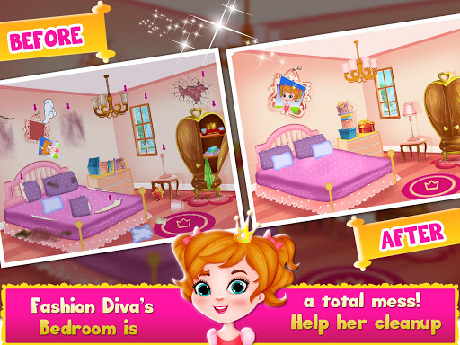 Princess Doll House Cleanup & Decoration Games screenshots 3