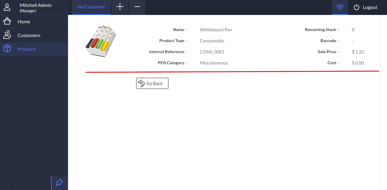 Products's details is shown in the POS gen X.