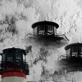 Lighthouses by Edward Gold - Digital Art Things ( touch of red, digital photography, 3 light houses, textured sky, black and white, digital art )