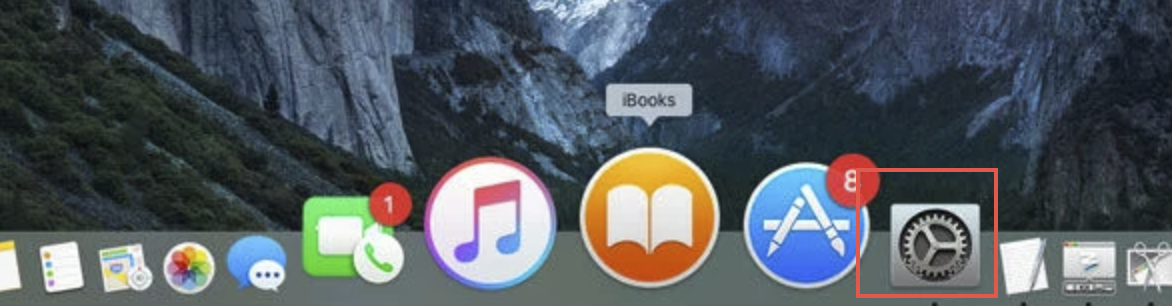 System Preferences icon from the action bar