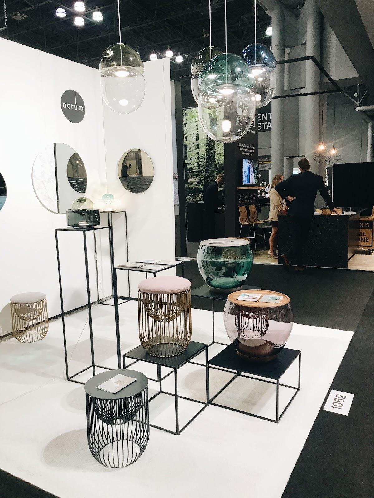 ICFF international contemporary design furniture fair glass pendant lights bubbles